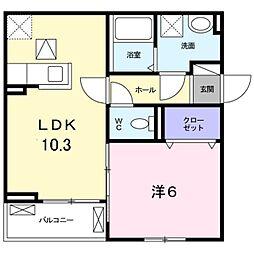 JR阪和線 和泉府中駅 徒歩18分の賃貸アパート 1階1LDKの間取り