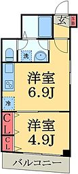 JR総武線 幕張駅 徒歩9分の賃貸マンション 4階1DKの間取り