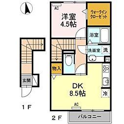愛知環状鉄道 大門駅 徒歩17分の賃貸アパート 2階1DKの間取り