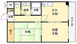 大阪府松原市別所2の賃貸マンションの間取り