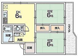 大阪府枚方市高塚町の賃貸マンションの間取り