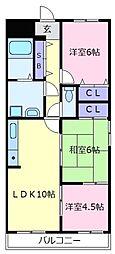ベルデフラッツ松野[3階]の間取り