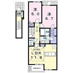 JR阪和線 富木駅 徒歩29分の賃貸アパート 2階2LDKの間取り