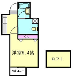 東武東上線 上福岡駅 徒歩7分の賃貸アパート 2階ワンルームの間取り