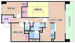 大阪府箕面市小野原西6丁目の賃貸マンションの間取り