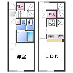 JR阪和線 六十谷駅 徒歩10分の賃貸アパート 1階1LDKの間取り