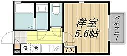 ビオラ西荻 2階1Kの間取り