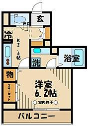 京王線 府中駅 徒歩4分の賃貸アパート 2階1Kの間取り