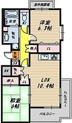 サンシード城東[2階]の間取り