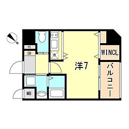 JR東海道・山陽本線 神戸駅 徒歩10分の賃貸マンション 9階ワンルームの間取り