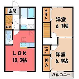 茨城県筑西市樋口の賃貸アパートの間取り