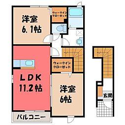 茨城県筑西市横島の賃貸アパートの間取り