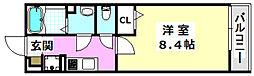 阪急京都本線 摂津市駅 徒歩4分の賃貸マンション 1階1Kの間取り