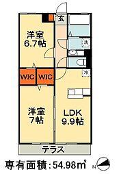 JR総武本線 四街道駅 徒歩17分の賃貸アパート 3階2DKの間取り