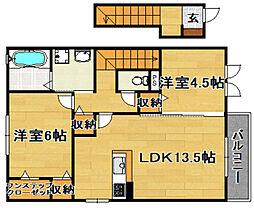 阪急京都本線 上新庄駅 徒歩20分の賃貸アパート 2階2LDKの間取り