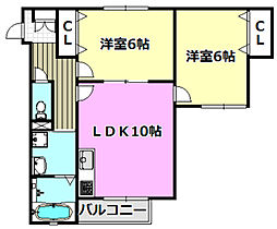 富士林プラザ11番館 3階2LDKの間取り