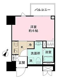JR中央線 豊田駅 徒歩2分の賃貸マンション 2階1Kの間取り