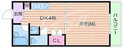 大阪府箕面市外院3丁目の賃貸マンションの間取り