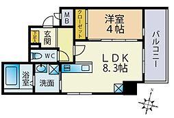 西鉄貝塚線 西鉄香椎駅 徒歩4分の賃貸マンション 5階1LDKの間取り