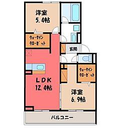 JR東北本線 宇都宮駅 バス21分 卸団地西下車 徒歩3分の賃貸アパート 2階2LDKの間取り