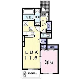エスポワールK&L II 1階1LDKの間取り