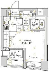 ディアレイシャス東京ベイ潮見 3階1Kの間取り