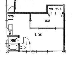 レジデンスこやま 1階1LDKの間取り