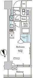 パークアクシス築地 5階ワンルームの間取り