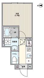 小田急小田原線 経堂駅 徒歩9分の賃貸アパート 1階1Kの間取り
