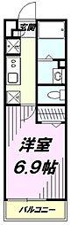 JR中央線 立川駅 徒歩16分の賃貸アパート 2階1Kの間取り