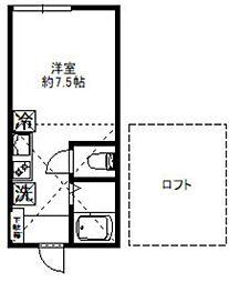 コリーナ代田 2階ワンルームの間取り