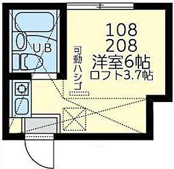 ユナイト新川崎ソクラテスの杜 2階ワンルームの間取り