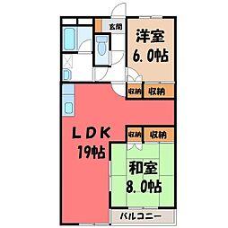 栃木県宇都宮市下栗1丁目の賃貸マンションの間取り