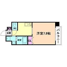 アール大阪リュクス 6階1Kの間取り
