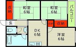マンションエンゼル 5階3DKの間取り