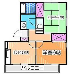南海高野線 中百舌鳥駅 徒歩10分の賃貸アパート 1階2DKの間取り
