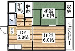 おおさか東線 新加美駅 徒歩11分の賃貸マンション 4階2DKの間取り
