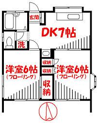 コーポ安江 1階2DKの間取り
