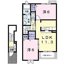 埼玉県三郷市彦野1丁目の賃貸アパートの間取り