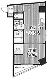 ベントーレ・三宿 3階1DKの間取り