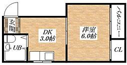 Osaka Metro谷町線 長原駅 徒歩4分の賃貸マンション 3階1DKの間取り