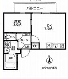 都営新宿線 岩本町駅 徒歩10分の賃貸マンション 4階1DKの間取り