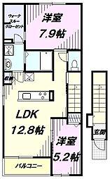 JR五日市線 武蔵五日市駅 バス5分 羽生下車 徒歩3分の賃貸アパート 2階2LDKの間取り