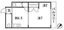 ドルフィン那珂川[202号室]の間取り
