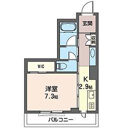 グランレーヴ新都心 2階1Kの間取り