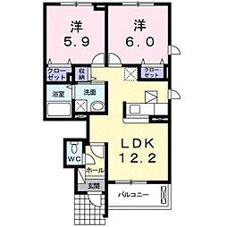 愛知県豊橋市大橋通3丁目の賃貸アパートの間取り