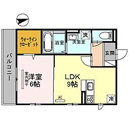泉北高速鉄道 深井駅 徒歩13分の賃貸アパート 2階1LDKの間取り