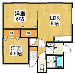 渡辺アパート[101号室]の間取り