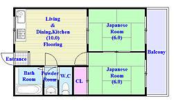 吉田マンション 3階2LDKの間取り