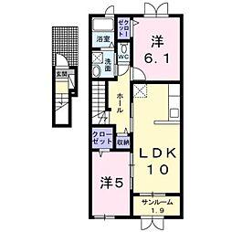 シルエリータII 2階2LDKの間取り
